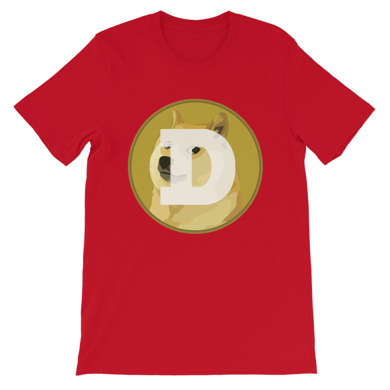 Dogecoin Cryptocurrency Coin Logo - Short-Sleeve Unisex T ...